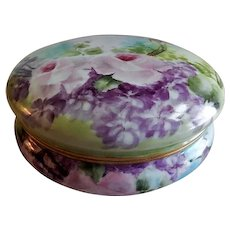 T & V Hand Painted Dresser/Jewelry Box w/Pastel Pink Rose Blossoms & Purple Floral Motif