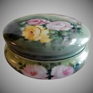 A Klingenberg & C Dwenger Hand Painted Dresser/Jewelry Box w/Multi-Colored Rose Blossom Motif