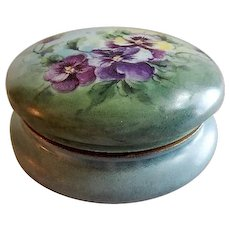 T & V Hand Painted Dresser/Jewelry Box w/Multi-Colored Pansy Motif