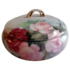 HC Royal Bavaria Hand Painted Covered Powder Jar w/Pink & Red Rose Blossoms Motif - Artist Signed