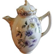 Ceramic Arts Company Belleek Hand Painted Tea Pot w/ Bachelor Button Floral Motif