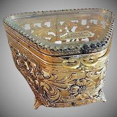 Vintage Filigree Ormolu Metal & Glass Vanity Casket