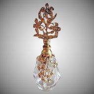 Vintage Filigree Ormolu Metal & Glass Vanity Perfume Bottle w/Glass Dabber