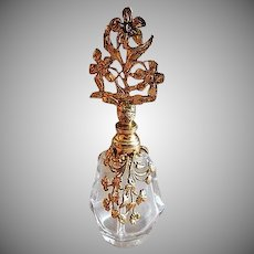 Vintage Filigree Ormolu Metal & Glass Vanity Perfume Bottle w/Glass Dabber