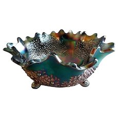 "Fenton Blue Carnival ""Orange Tree"" Console Footed Bowl"