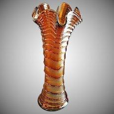 """Imperial Marigold Carnival """"Ripple"""" Pattern Vase"""