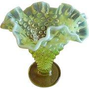 Fenton Vaseline Opalescent Hobnail Ruffled Vase
