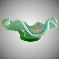 "Dugan Glass ""Diamond Maple Leaf"" Pattern Green Opalescent Handles BonBon"