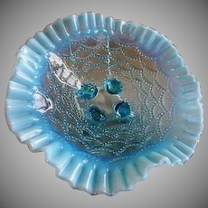 "Northwood Glass ""Beaded Drapes"" Pattern Blue Opalescent Footed Bowl"