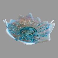 "Northwood Glass ""Spokes & Wheels"" Variant Pattern Blue Opalescent Triangular-Shape Bowl"