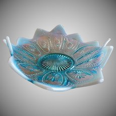 "Northwood Glass ""Spokes & Wheels"" Variant Pattern Blue Opalescent Triangular-Shape Bowl"