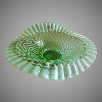 "Jefferson Glass ""Swirling Maze"" Pattern Green Opalescent JIP Crimped Bowl"