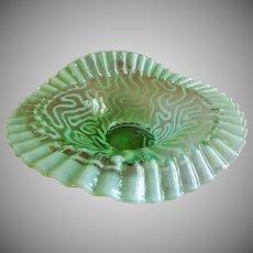 "Jefferson Glass ""Swirling Maze"" Pattern Green Opalescent JIP Crimped Bowl"