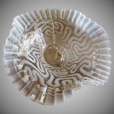 "Jefferson Glass ""Swirling Maze"" Pattern White Opalescent Folded & Crimped Bowl"