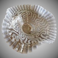 "Jefferson Glass ""Swirling Maze"" Pattern White Opalescent Folded & Crimped Bowl"