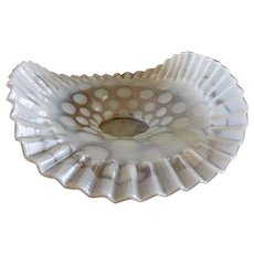 """Fenton Glass """"Coin Dot"""" Pattern White Opalescent Folded & Crimped Bowl"""