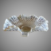 "Fenton Glass ""Moonstone"" Pattern White Opalescent Fluted & Crimped Wedding Bowl"