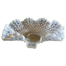"""Fenton Glass """"Moonstone"""" Pattern White Opalescent Fluted & Crimped Wedding Bowl"""
