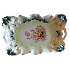 RS Prussia Tray - Blown-Out Iris Mold #25 - Multi-Colored Rose Blossoms Motif
