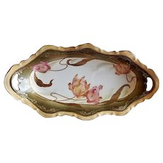 RS Prussia Celery/Relish Tray - Multi-Colored Tulip Blossoms Motif