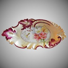 RS Prussia Unmarked Celery/Relish Tray - Multi-Colored Floral & Blown-Out Leaf Motif