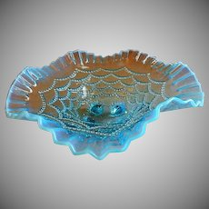 """Northwood Glass """"Beaded Drapes"""" Pattern Blue Opalescent Footed Bowl"""