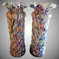 "Pair of Art Glass ""Spatter"" or ""End of Day"" Multi-Colored Vases"