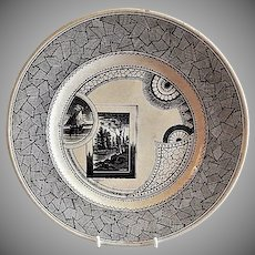 "Old Hall Company, England, Black Transfer-Ware ""Excelsior"" Pattern Dinner Plate"