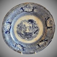 "J. Clementson Ironstone Blue Transfer-Ware ""Siam"" Pattern Plate"