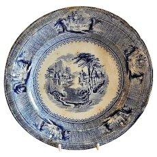"J. Clementson Ironstone Blue Transfer-Ware ""Siam"" Pattern Plate"