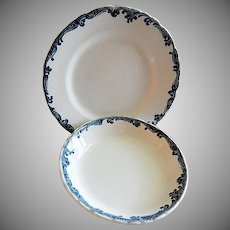 """Scammell's Trenton China - Union Pacific Railroad """"Harrison Blue"""" Pattern Plate & Bowl"""