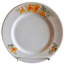 "Syracuse China - Atchison, Topeka & Santa Fe Railroad ""California Poppy"" Pattern Dinner Plate"