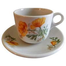 "Syracuse China - Atchison, Topeka & Santa Fe Railroad ""California Poppy"" Pattern Cup & Saucer"