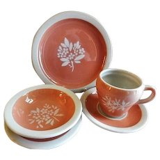 "Syracuse China - Illinois Central Railroad ""Coral"" Pattern - Set of 5 Pieces"