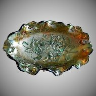 "Imperial Green Carnival ""Pansy"" Oval Ruffled Pickle/Condiment Dish"