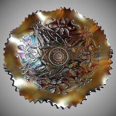 "Northwood Amethyst Carnival ""Wishbone and Ruffles & Rings""  Patterns Ruffled Footed Bowl"