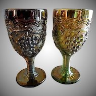 "(Pair) Imperial Carnival ""Grape"" Pattern Wine Glasses - Amethyst and Green"