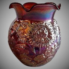 Vintage Imperial Glass Red Iridescent Floral Motif Vase