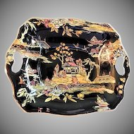 "Royal Winton Chintz ""Pekin"" Pattern Relish/Candy Dish - Black w/Gold Trim"