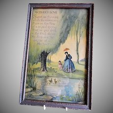 "Vintage Marygold Framed Print ""Mother's Love"" Motto"