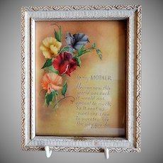 """Vintage Framed Print """"To My MOTHER"""" Motto"""