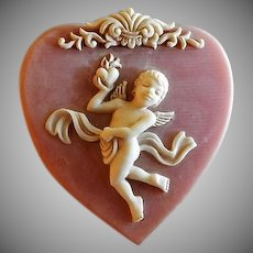 Vintage Incolay Stone Heart-Shaped Hinged Box w/ Cherub & Scroll Motif