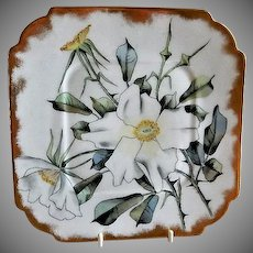 CFH/GDM Limoges Hand Painted Cabinet Plate w/White Rose Blossoms Motif - 1 of 4 Plates