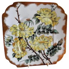 CFH/GDM Limoges Hand Painted Cabinet Plate w/Yellow Rose Blossoms Motif - 2 of 4 Plates