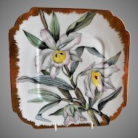 CFH/GDM Limoges Hand Painted Cabinet Plate w/Shaded Pink/White Orchid Blossoms Motif - 3 of 4 Plates