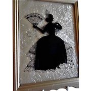 Vintage Reverse Hand Painted on Glass Silhouette of Victorian Era Lady - Illinois Artist Signed