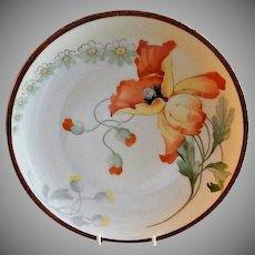 Imperial PSL Austria Hand Painted Cabinet Plate w/Art Nouveau Poppy & Daisy Motif