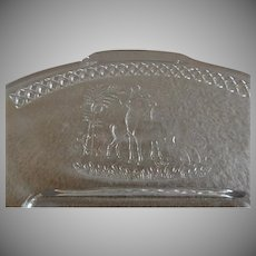 EAPG - McKee & Brothers Glass Company - Deer & Pine Pattern Clear Glass Bread Tray