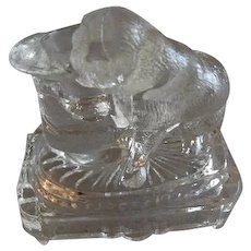 "EAPG - Belmont Glass Co. ""Bulldog w/Top Hat"" Toothpick Holder"