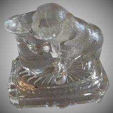 "EAPG - Belmont Glass Co. ""Bulldog w/Top Hat"" Toothpick Holder"